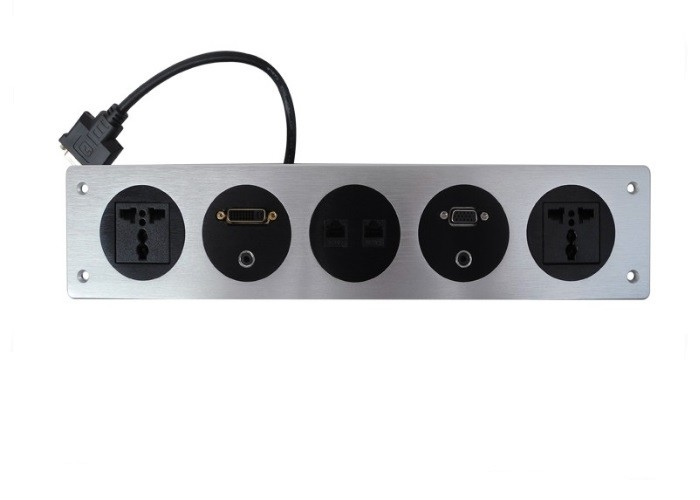 High-End Custom Silver Color Aluminum Panel Universal Desktop Power Sockets For Table And Wall